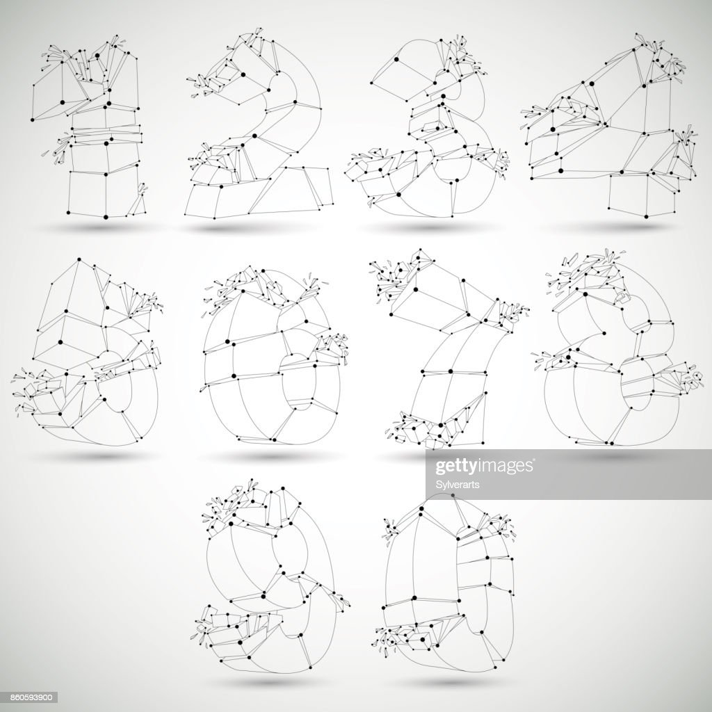 Abstract 3d faceted monochrome numbers with connected black lines and dots. Set of vector low poly shattered design elements with fragments and particles. Explosion effect, thread objects.