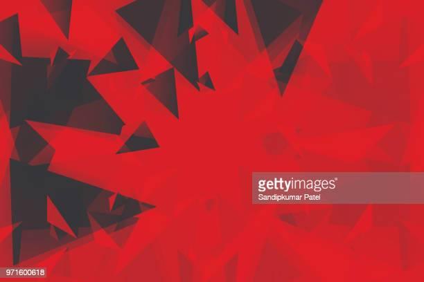 abstrakt 3d geometrischen, polygonale, dreieck muster - roter hintergrund stock-grafiken, -clipart, -cartoons und -symbole
