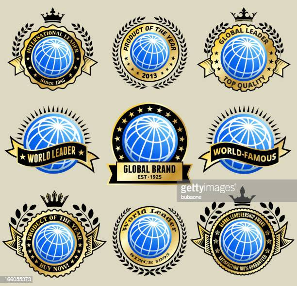 Abstract 3D Globe Gold Badge on Old Paper Background