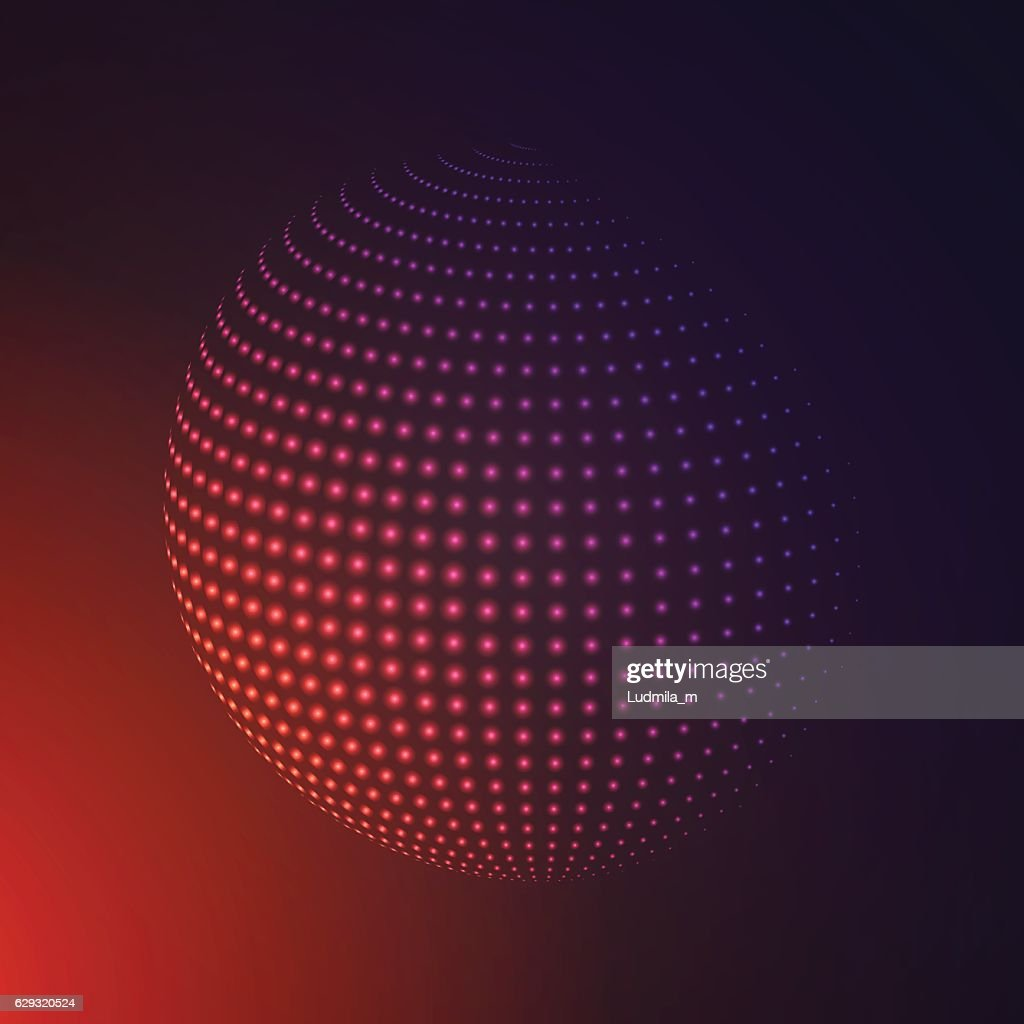 Abstract 3D illuminated halftone sphere, glowing particles.