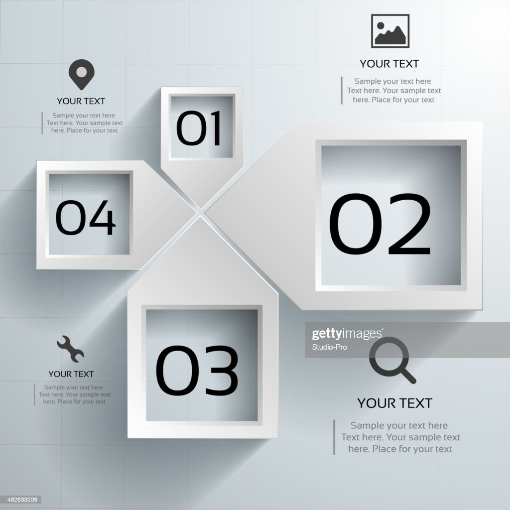 Abstract 3d paper infographics template design