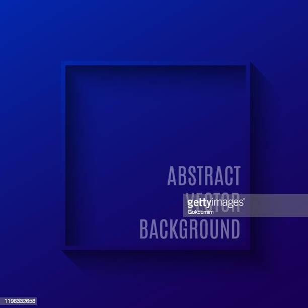 illustrations, cliparts, dessins animés et icônes de cadre carré 3d abstrait avec fond de couleur de gradient. contexte abstrait bleu, élément de conception pour les cartes de visite, la publicité, la brochure et les étiquettes. - bleu roi