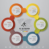 Abstract 6 steps chart infographics elements. Vector illustration.