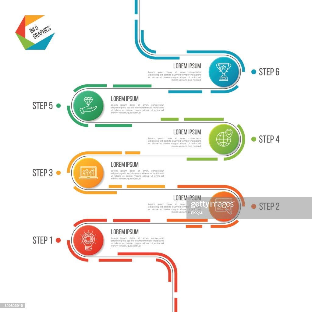 abstract 6 steps road timeline infographic template vector art