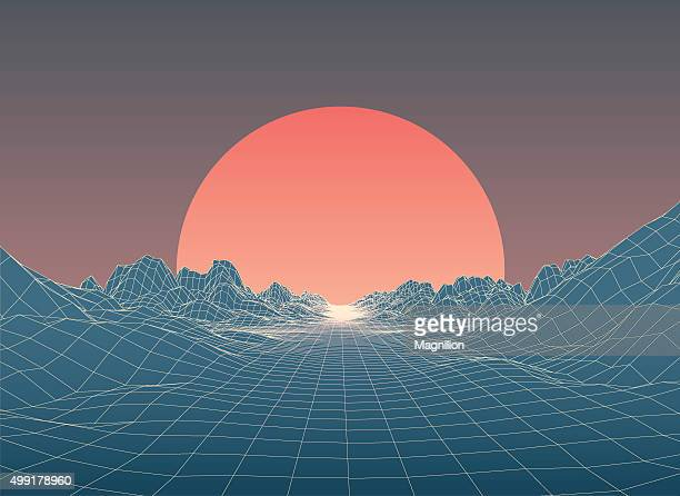 abstract 80s style retro background - planet space stock illustrations