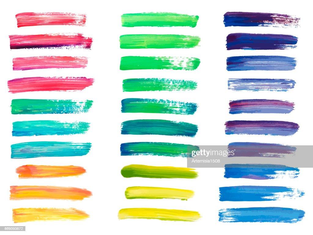 Abstract acrylic brush strokes isolated on white, creative illustration,fashion background. Vector illustration