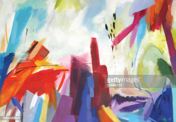 illustrazioni stock, clip art, cartoni animati e icone di tendenza di abstract acrylic painting emotions - dipinto