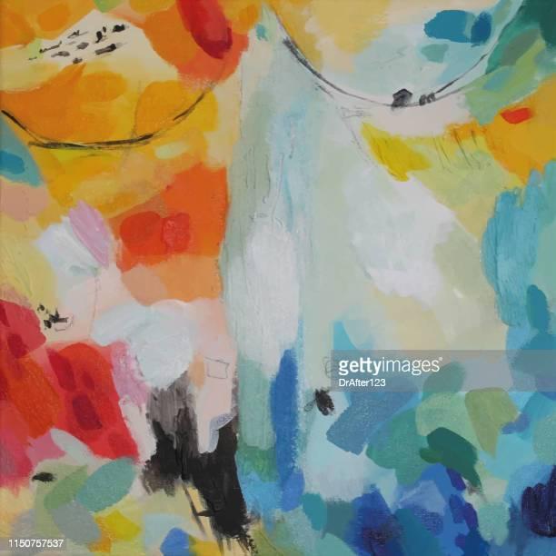 abstract acrylmalerei aufregung - acrylmalerei stock-grafiken, -clipart, -cartoons und -symbole
