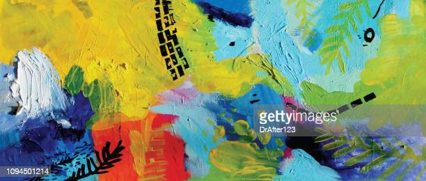abstract acrylic painting happiness - artistic product stock illustrations