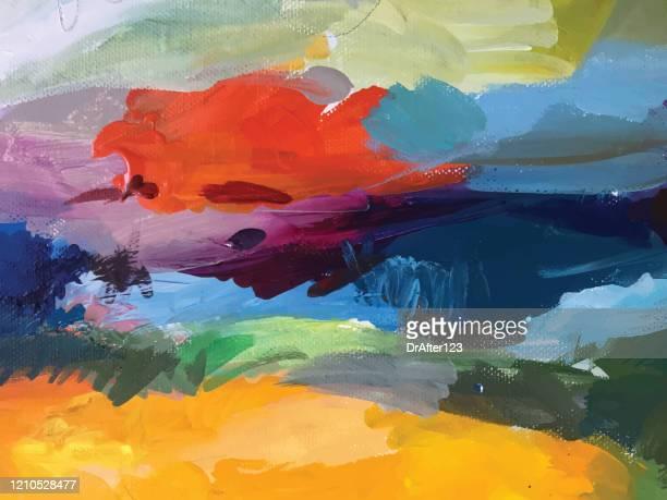 ilustraciones, imágenes clip art, dibujos animados e iconos de stock de pintura acrílica abstracta - imagen pintada
