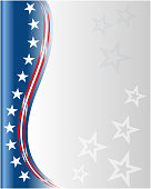 Abstract American flag wave pattern background frame.