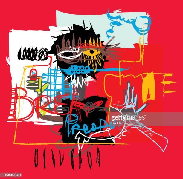 stockillustraties, clipart, cartoons en iconen met abstracte kunst in primitieve neo-expressionisme stijl - kunst