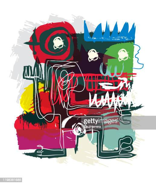 abstrakte kunst im primitiven neoexpressionismus-stil - museum stock-grafiken, -clipart, -cartoons und -symbole
