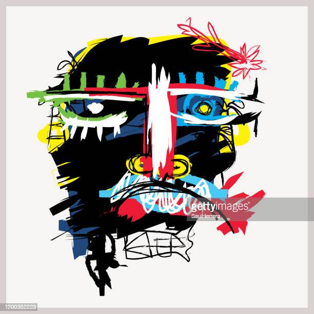 abstract art in primitive neo-expressionism style - art stock illustrations