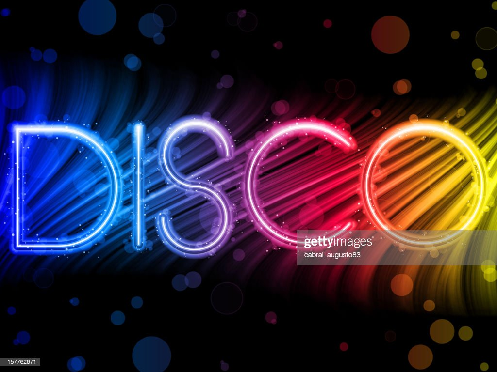 Abstract art of colorful lettering of Disco word