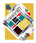Abstract  ART party retro banner with paint strokes and squares. Vector illustration