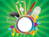 abstract artistic creative cricket elements background