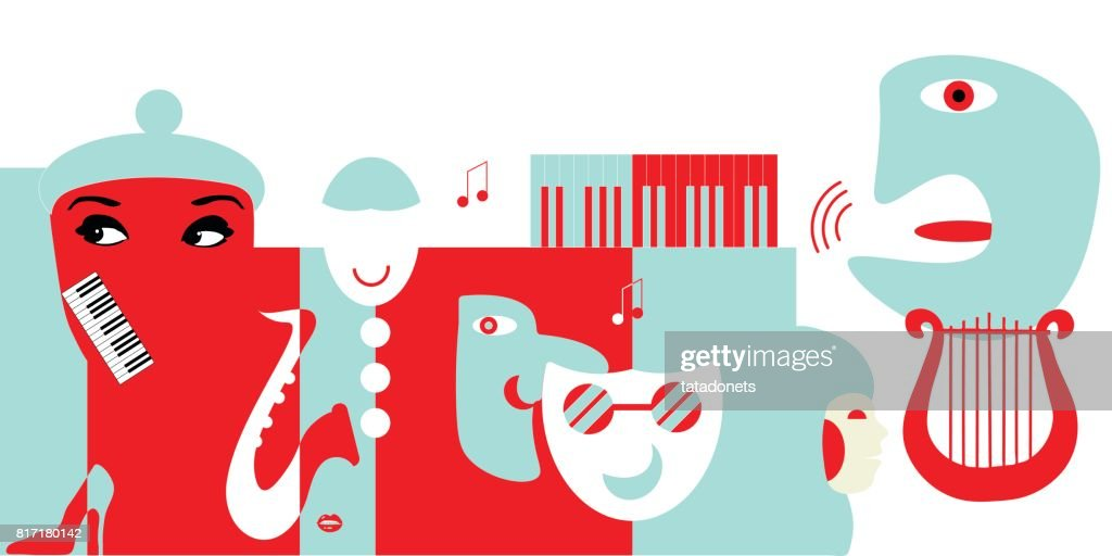 Abstract artwork for classical music concert or theater. Could be use as music background or as design element for theater posters, tickets, flyers or philharmonic hall promotions.