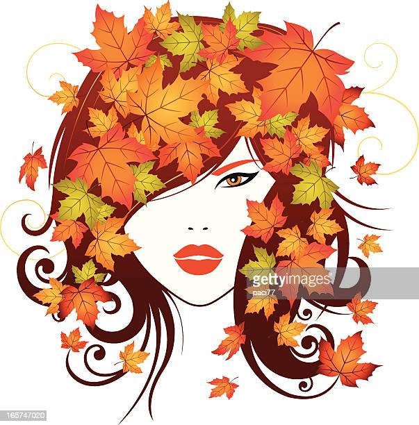 abstract autumn girl - lip liner stock illustrations, clip art, cartoons, & icons
