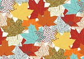 Abstract autumnal seamless pattern with flying maple leaves.