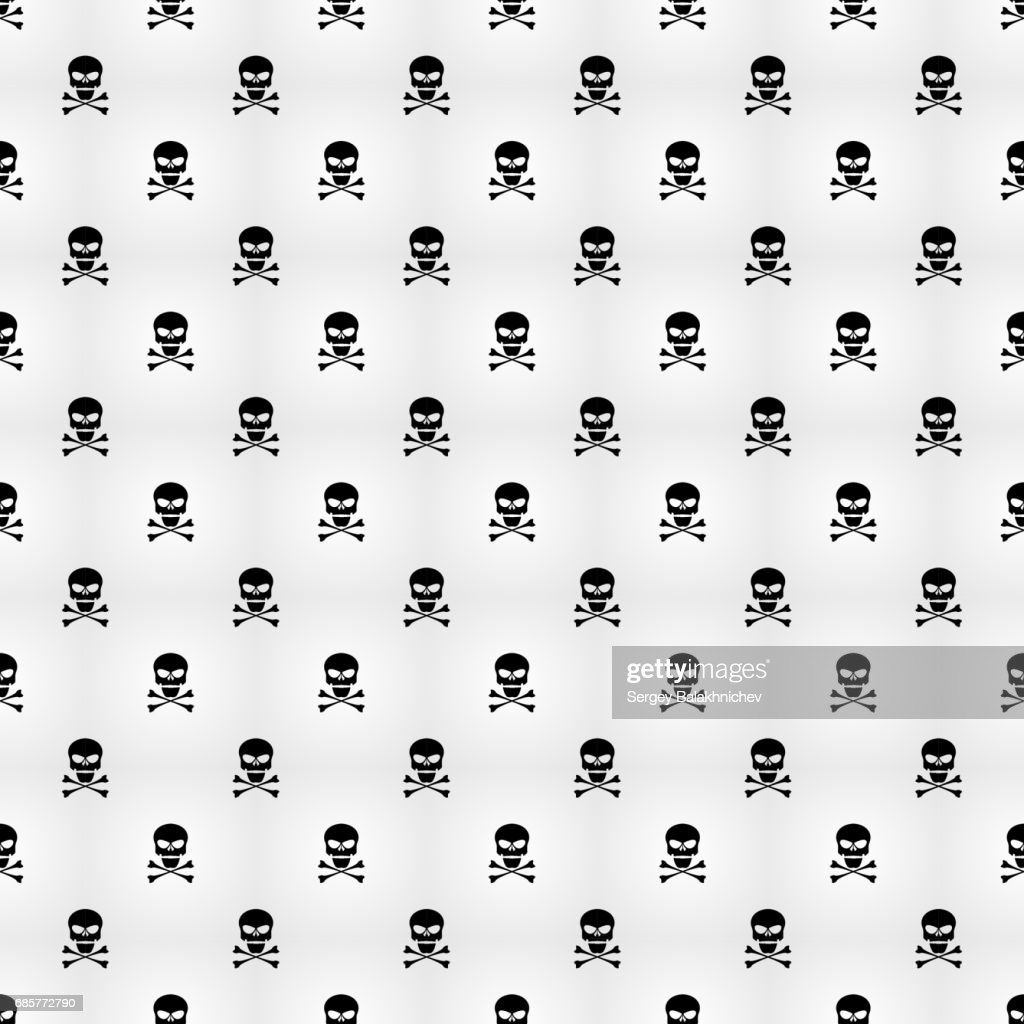 Abstract background. A pattern on a white background of black skulls. Wallpapers for your projects. Danger and threat. Vector illustration. EPS 8