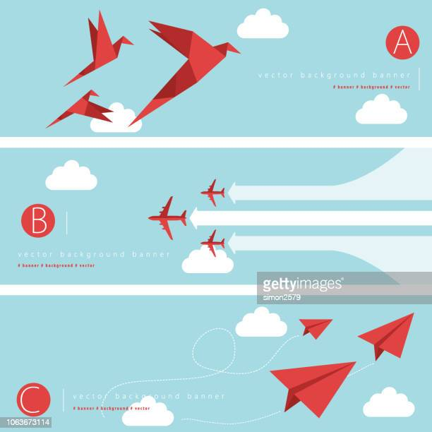 abstract background banner set - flying stock illustrations