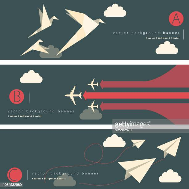 abstract background banner set - paper airplane stock illustrations, clip art, cartoons, & icons