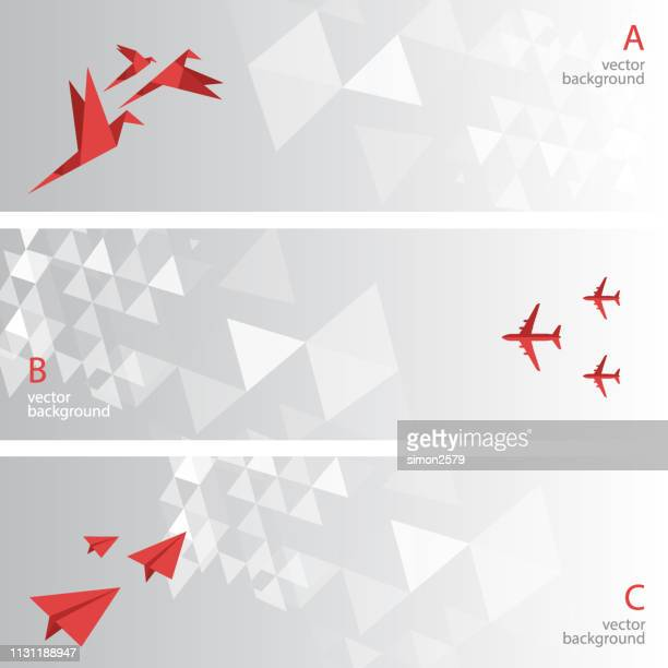 abstract background banner set - origami stock illustrations