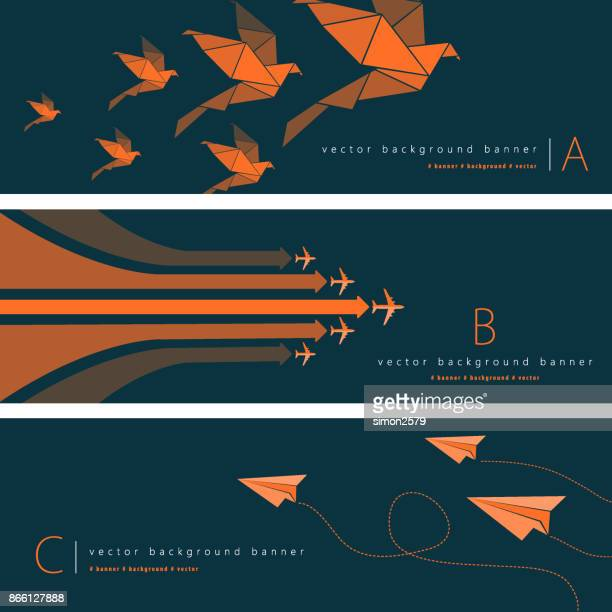 abstract background banner set - growth stock illustrations