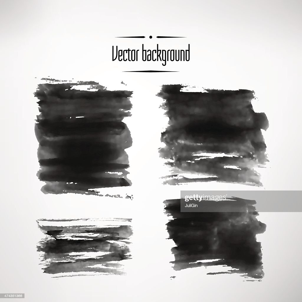 Abstract background black ink vector element set. Vector illustration