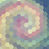 abstract background consisting of green, pink, gray hexagons