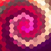 abstract background consisting of hexagons, pink, purple, beige colors