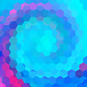 abstract background consisting of pink, blue hexagons
