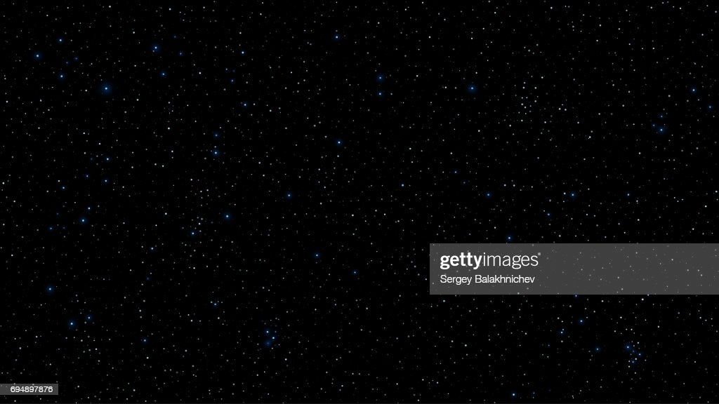 Abstract background for your project. The beautiful starry sky is blue. The stars glow in complete darkness. A fantastic, huge galaxy. Open space. Vector illustration. EPS 10
