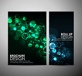 Abstract background hexagons. Brochure business design template or roll up.