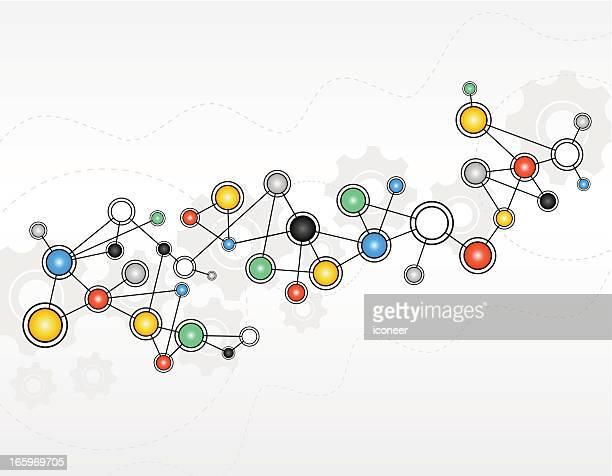 illustrazioni stock, clip art, cartoni animati e icone di tendenza di sfondo astratto tecnologia - struttura molecolare