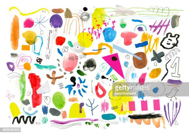 abstract background pattern of painted marks and shapes - painted image stock illustrations