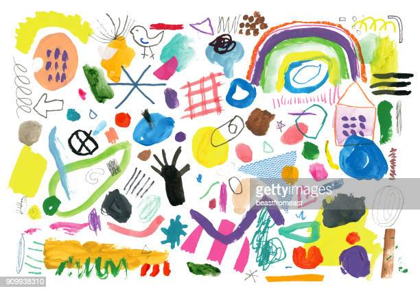 abstract background pattern of painted marks and shapes - art stock illustrations