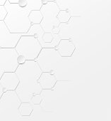 Abstract background structure DNA bio molecules on white background.
