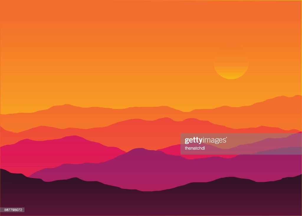 Abstract background sunset silhouette mountain scenery