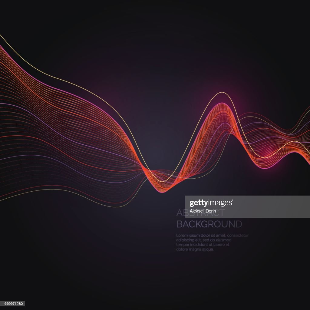 Abstract background with a dynamic waves and particles
