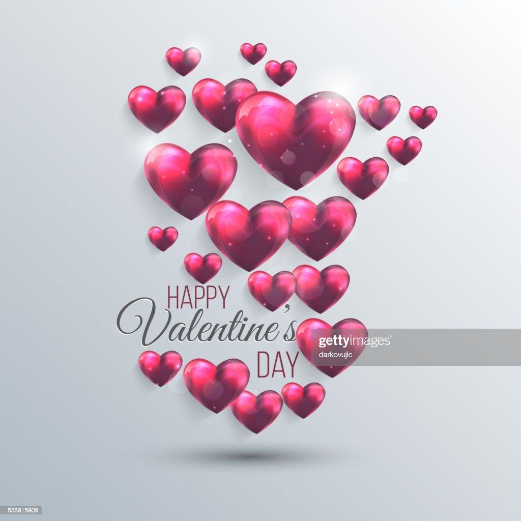 Fondo abstracto rosa de San Valentín con corazones : Arte vectorial