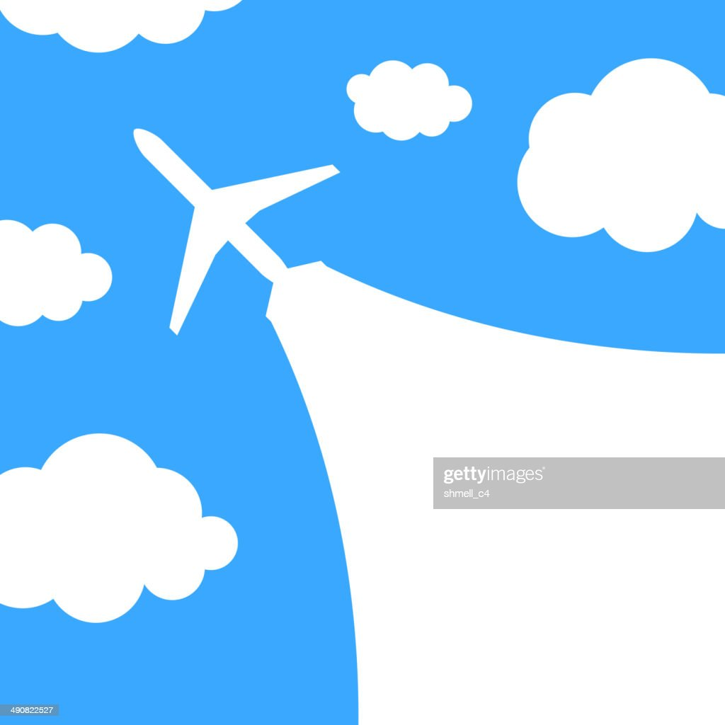 Abstract background with airplane and clouds
