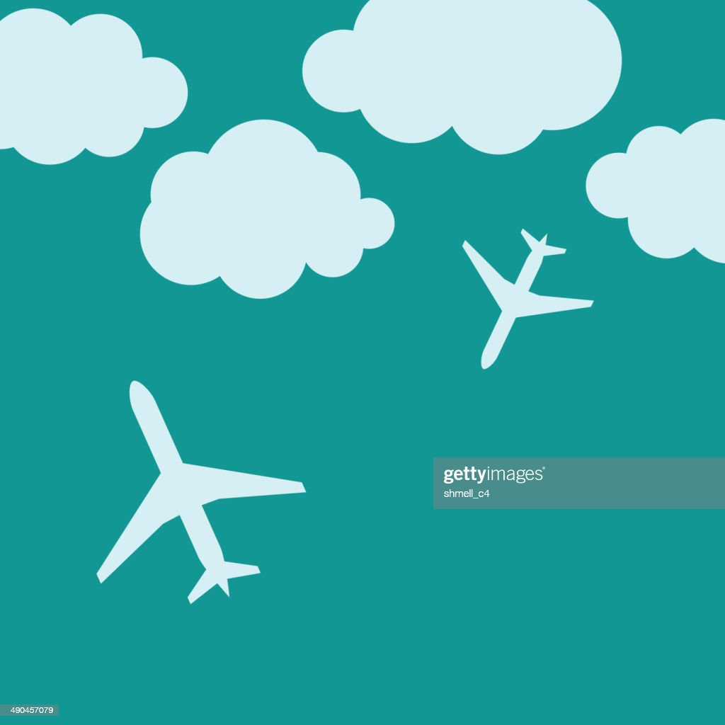 Abstract background with airplanes and clouds