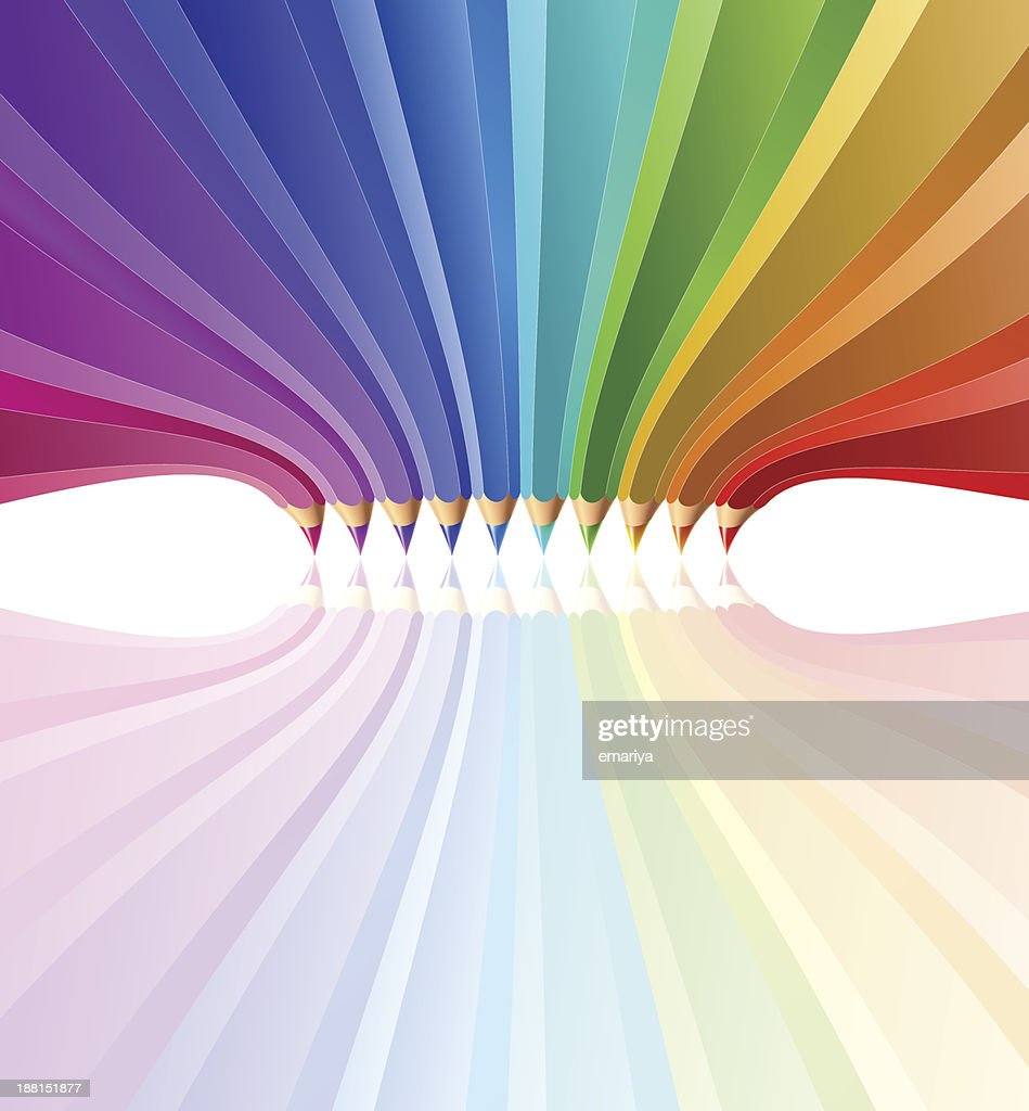 Abstract background with art pencils. Vector