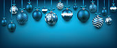 Abstract background with blue christmas balls