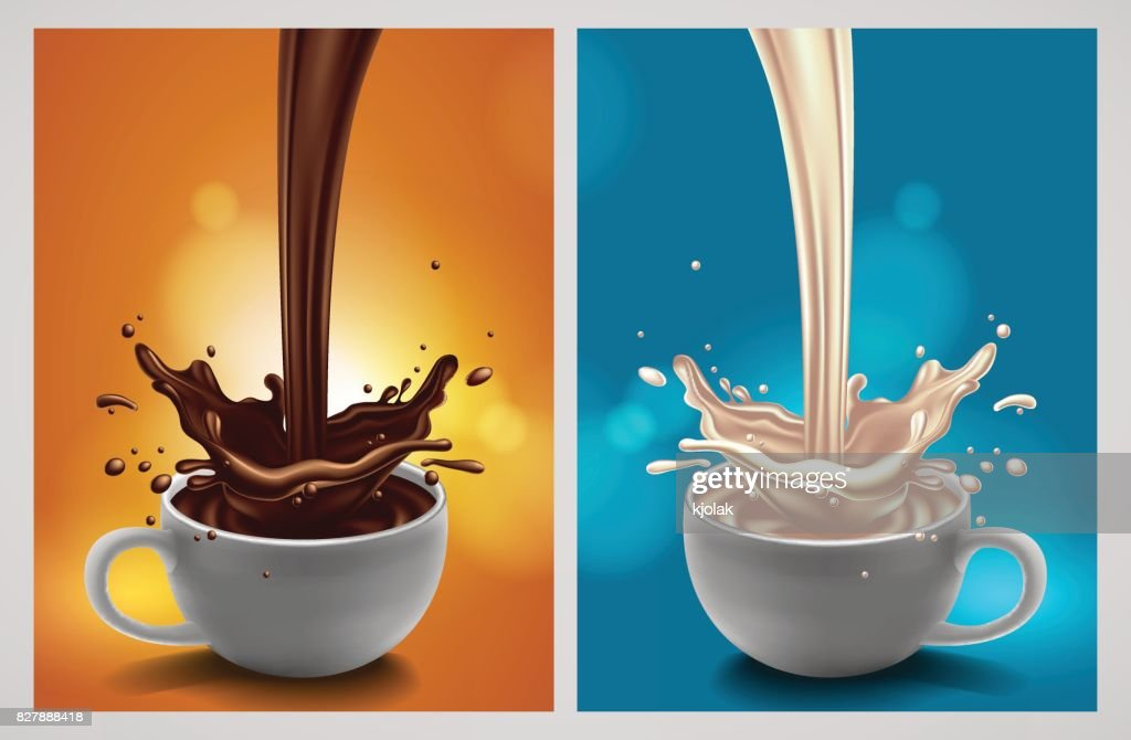 abstract background with chocolate and milk splash, high detailed realistic illustration