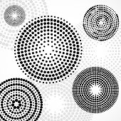 Abstract background with dotted circles. Dots in circular form. Vector design backdrop