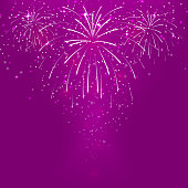 Abstract background with fireworks on a purple background.Vector