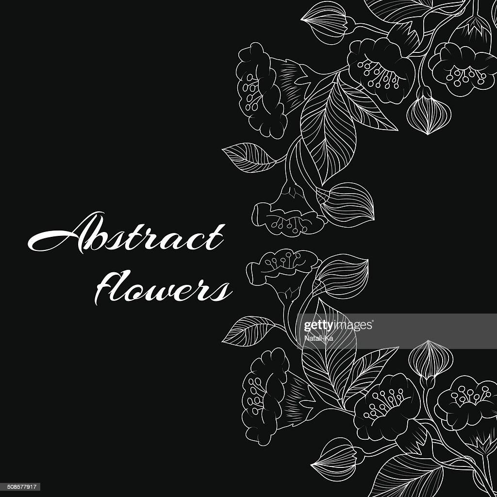Sfondo astratto con fiori in bianco e nero in stile : Arte vettoriale